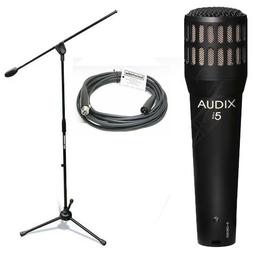 Audix I-5 I5 Instrument Guitar Drum Dynamic Mic + Microphone Stand + Whirlwind 20' Xlr Cable + Unique Squared Vinyl Stickers