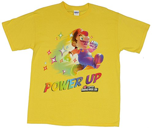 "Super Mario Brothers Mens T-Shirt - ""Power Up!"" Runnning Invincible Mario Image"