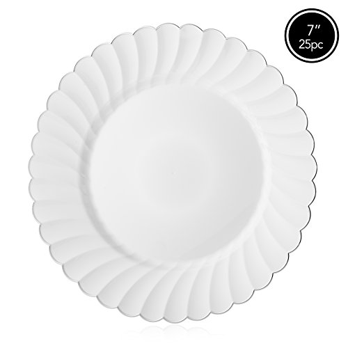 Elite Selection Pack Of 25 White Salad Plates With Silver Flower Rim 7.5-Inch (Decorative Plastic Ware compare prices)