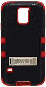MyBat Samsung Galaxy S5 TUFF Hybrid Phone Protector Cover with Stand - Retail Packaging - Natural Black/Red