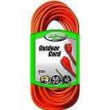 Coleman Cable 02308 16/3 Vinyl Outdoor Extension Cord, Orange, 50-Feet