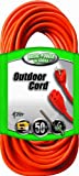 Coleman Cable 02308 16/3 Vinyl Outdoor Extension Cord, Orange, 50-Feet