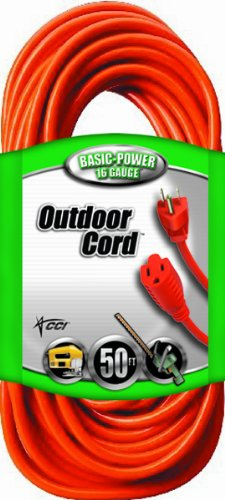 Find Discount Coleman Cable 02308 16/3 Vinyl Outdoor Extension Cord, Orange, 50-Feet