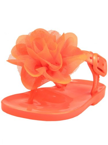 """Infant / Toddler Girls Solid Color T-Strap Thong Jelly Sandals With Flower Puff By Baby Deer - Orange - 6 Infant / 18 Mths-24 Mths / 4.75-5.00"""" front-172029"""