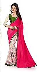 Drapme Floral Print Pink Georgette Saree with Designer Printed Blouse