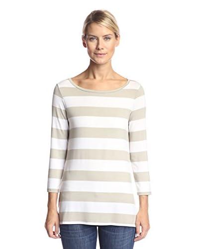 NYDJ Women's Wide Stripe Tee  [Stone]
