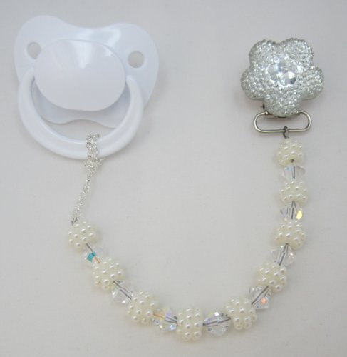 Bling White Flower Pacifier Clip With Matching Beads