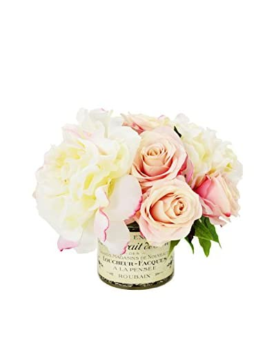 Creative Displays Cream Peonies & Pink Roses in a Printed Container