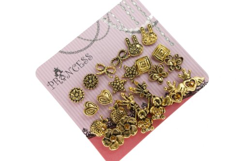 Antique Gold Tone Crystal Vintage Fashion Jewelry Stud Earrings, Pack of 12 (B)