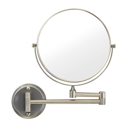 Modona Mr01-A-N 8-Inch Two-Sided 1X And 5X Wall-Mounted Mirror, Made Of Brass Satin Nickel