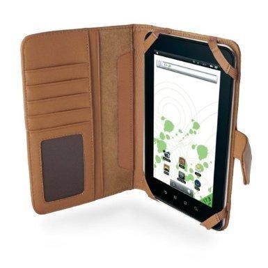Navitech 7 Zoll bycast Leder flip Trage Case / Cover im Buch Stil für das Chiligreen E-Board HT400 (Chiligreen E-Board HT400, braun)