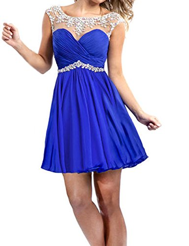 LovingDress Women's Chiffon Homecoming Dresses Rulffled&Beaded Short Prom Dress Size 0 US Dark Royal Blue