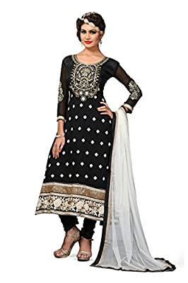 Kuber Enterprise Women's Georgette Mastani Semi-Stitched Dress Material(KE-1238_Black_Free Size)