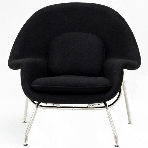 2 Pc Modern Lounge Chair & Ottoman Set (Black)