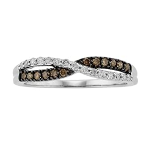 1/4 ct. tw. White and cocoa diamond® Fashion Ring in 10K White Gold (Size 5.0)