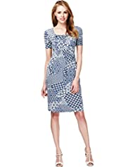 Scoop Neck Contrast Print Elasticated Waist Dress