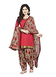 Salwar House Red & Multicolor Unstitched Synthetic Printed Dress Material with Dupatta