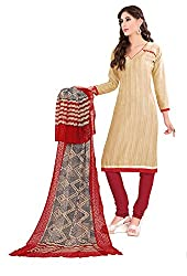 Women Latest Fancy Designer Salwar Suit Dress Material Khadi Beige Dyed + Lace Unstitched