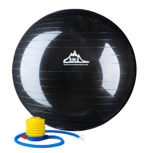 Black Mountain Products Anti Burst Exercise Stability Ball with Pump, Black, 2000-Pound/65cm