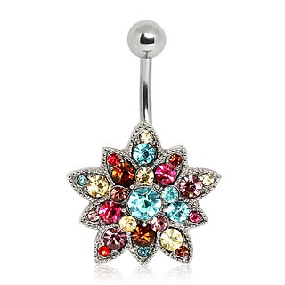 316L Surgical Steel Belly Navel Bar Ring with Multi Gem Flower.