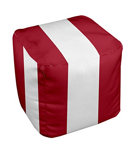 E by design Stripe Pouf, 13-Inch, 3Red - 1