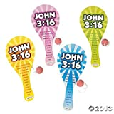 "Lot of 12 Wooden ""John 3:16"" Paddleball Games Bulk Toys Wholesale"