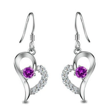 Rhodium Plated 925 Sterling Silver Amethyst Diamond Accent Heart Earrings-SE3257