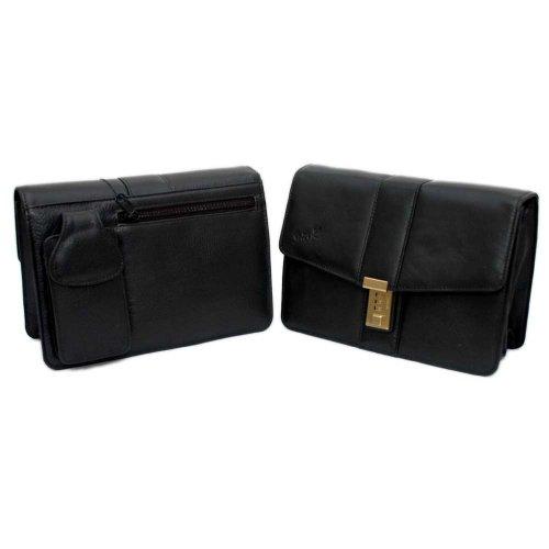 Gents Black Leather Wrist Bag (D4071) Mobile holder