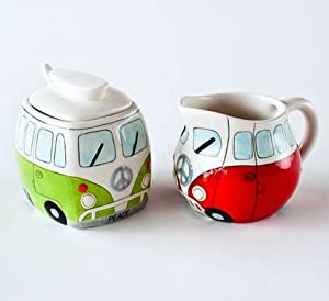 Volkswagon Vw Bus with Peace Sign Sugar & Creamer Set w/ Spoon, Green & Red by VW