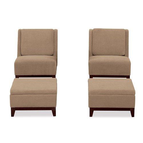 Modular Two Chair and Ottoman Set Brownstone Fabric/Espresso Legs