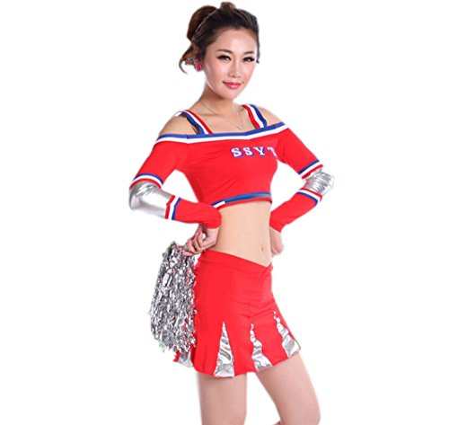 Cheerleader Costume/ Cheerleading Uniform/ Cheerleading Outfit Size L (Red)