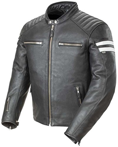 Joe Rocket Classic 92' Leather Jacket Black White Scrambler Medium (Joe Rocket Classic 92 compare prices)