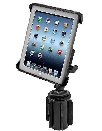 RAM Mounts (RAP-299-3-C-TAB3U) Ram-A-Can Ii Universal Cup Holder Mount with Long Double Socket Arm and Tab-Tite Universal Clamping Cradle for the Apple Ipad 4, Ipad 3, Ipad 2 and Ipad 1 with Or without Light Duty Case