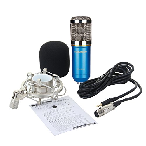 Floureon BM-800 Condenser Sound Studio Recording Broadcasting Microphone + Shock Mount Holder Blue - 9