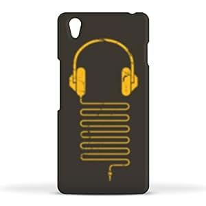 FUNKYLICIOUS OnePlus X Back Cover Gold Headphones Design (Multicolour)
