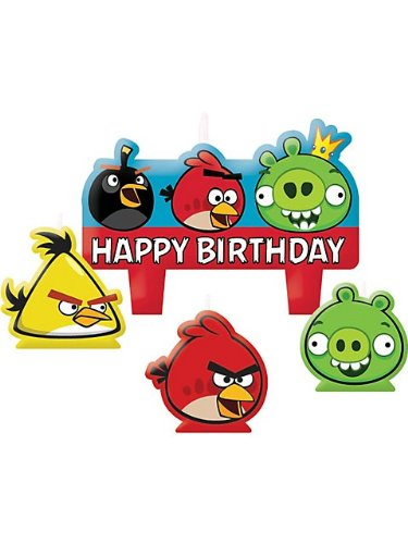 Amscan Charming Angry Birds Character Themed Candle Set, Red/Blue/Black/Green/White, 1.25""