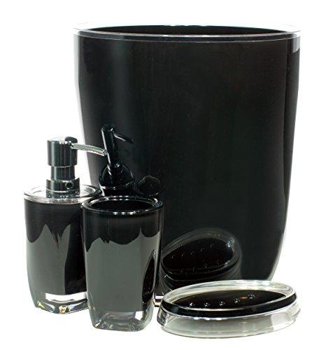 Qg 4 pc modern clear black acrylic plastic bathroom - Bathroom soap and lotion dispenser set ...