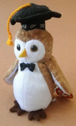 TY Beanie Babies Wisest the Owl Bird Plush Toy Stuffed Animal with Class of '00 Graduation Hat by G39195694 - 1