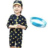 SARA STORE 星柄 ベビー ボーイズ 男の子 水着 スイミング ウエア 帽子 ラッシュガード シリコンブレス セット (90-100(2-3歳))