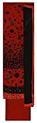 Punjaban Boutique Women's Chiffon Unstitched Dress Material (Red and Black)