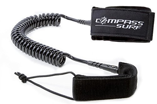 SUP Leash 10' Coiled by Compass Surf - Double Stainless Steel Swivels + Lightweight - Lifetime Guarantee