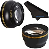58mm HD 2.2x Telephoto & .43x Wide Angle Lens Bundle For Panasonic Lumix G Vario 14-140mm F3.5-5.6 ASPH. / Power O.I.S 2.2x 58mm Wide Angle Lens 58mm Telephoto Lens 58mm Lens 58mm Lens Kit