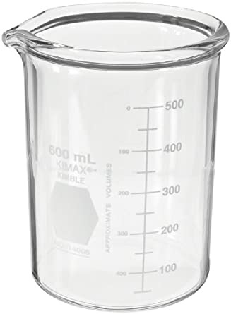 Kimax KG-33 borosilicate glass Griffin heavy-duty low-form beaker with double capacity scale