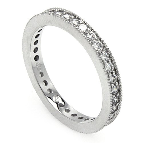 Rhodium Plated Sterling Silver 2mm Milgrain Edge Cubic Zirconia Fashion Eternity Anniversary Ring Band (Sizes 5 to 9) - Size 5