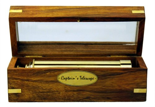 "Captains 15"" Brass Telescope with Wooden Box Nautical Collectibles 1"