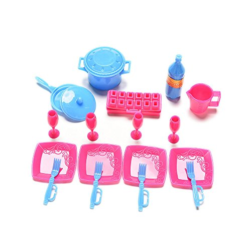 ASIV- 18 pz Mini Simulazione in Miniatura Articoli per la Tavola Utensile da Cucina Accessori Pentole e Padelle Piatti Posate per Bambole Barbie
