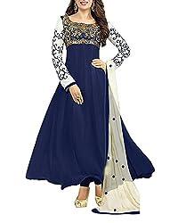 Surat Dream Women's Georgette Unstitched Dress Material(EC101, Blue)