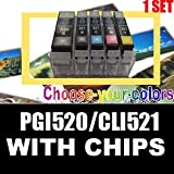 5 compatible ink cartridges for Canon Pixma IP3600 IP4600 MP540 MP620 MP630 and MP980 -Ready For Use With Chipsby UNI