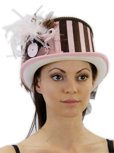 Steampunk Princess Vintage Inspired Ladies Riding Hat with Train in 5 Colors Hat Colors: Pink/Brown
