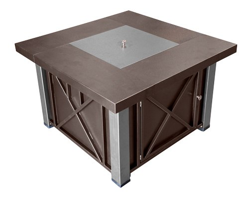 Hiland Decorative Hammered Bronze Fire Pit with Stainless Steel Legs and Lid photo